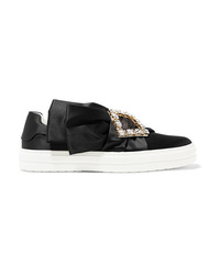Roger Vivier Sneaky Viv Crystal Embellished Satin Slip On Sneakers