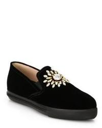Miu Miu Velvet Embellished Skate Shoes