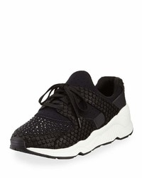 Ash Mood Embellished Knit Sneaker Black