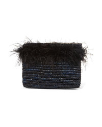 Loeffler Randall Feather Embellished Raffia Clutch