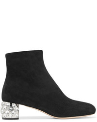 Crystal embellished suede ankle boots black medium 3947056