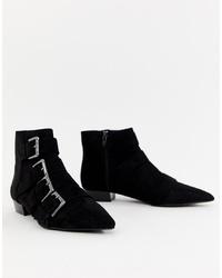 Bershka Detail Flat Boot In Black