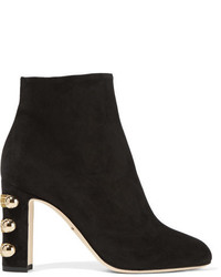 Dolce & Gabbana Embellished Suede Ankle Boots Black