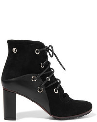 Proenza Schouler Eyelet Embellished Suede And Leather Ankle Boots Black