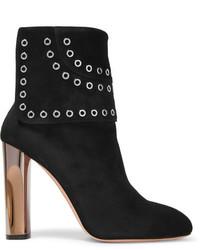 Alexander McQueen Eyelet Embellished Suede Ankle Boots Black