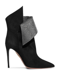 Aquazzura Night Fever Crystal Embellished Suede Ankle Boots