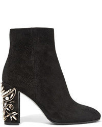 Rene Caovilla Ren Caovilla Embellished Suede Ankle Boots Black