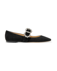 Jimmy Choo Goodwin Crystal Embellished Suede Mary Jane Ballet Flats