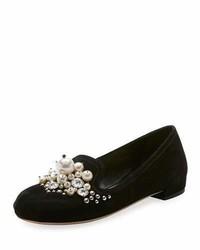 Miu Miu Suede Embellished Ballet Flat