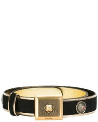 Black Embellished Suede Belt