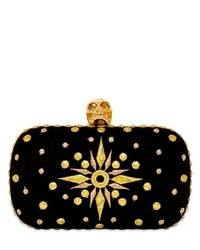 Alexander mcqueen embroidered suede skull box clutch medium 16640