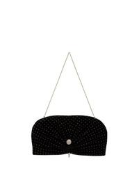 Jimmy Choo Black And Metallic Silver Vivien Crystal Embellished Velvet Clutch Bag