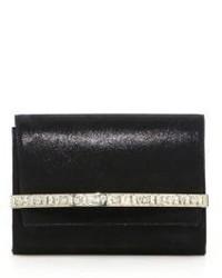 Bow crystal embellished shimmer suede clutch medium 531078