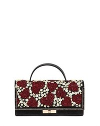Valentino Heart Flower Embellished Suede Clutch