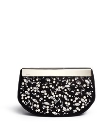 Rodo Pearl Crystal Embellished Suede Clutch