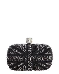 Alexander McQueen Pre Owned Black Suede Britannia Studded Clutch