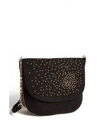 Black Embellished Suede Crossbody Bag