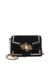 Gucci Broadway Bee Velvet Shoulder Bag
