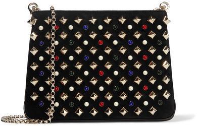 315cc3d95ec Triloubi Small Embellished Suede And Leather Shoulder Bag Black