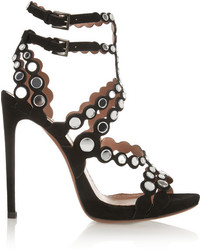 Alaia Alaa Mirror Embellished Laser Cut Suede Sandals