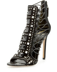 Brian Atwood B Lalouche Studded Suede Snake Detail Cage Sandal