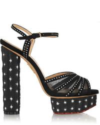 Charlotte Olympia Cactus Swarovski Crystal Embellished Suede Sandals
