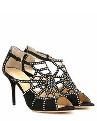 Charlotte Olympia Lotte Crystal Embellished Suede Sandals