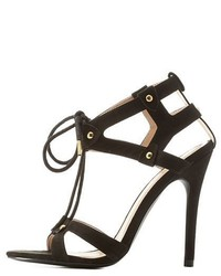 Charlotte Russe Qupid Caged Cut Out Lace Up Heels