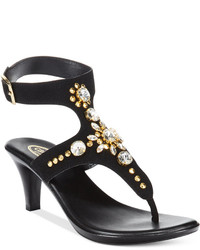 Callisto Cherry Embellished Ankle Strap Sandals