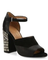 Marni Embellished Block Heel Suede Leather Ankle Strap Sandals