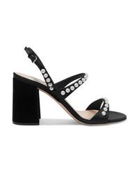 Miu Miu Faux Pearl Embellished Suede Slingback Sandals
