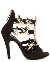 Romwe Metalic Star Embellished Black High Heel Sandals