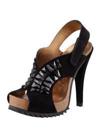 Pedro Garcia Catherine Crystal Embellished Suede Peep Toe Sandal Black
