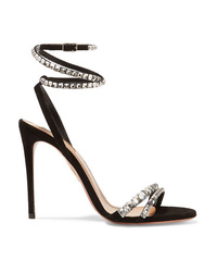 Aquazzura So Vera 105 Crystal Embellished Suede Sandals
