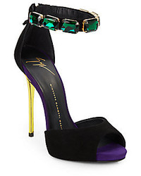 Giuseppe Zanotti Suede Jewel Embellished Ankle Cuff Sandals