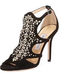 Jimmy Choo Tinga Suede Crystal Embellished Sandal Black