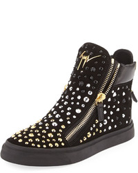 Giuseppe Zanotti London Embellished High Top Sneaker Nero
