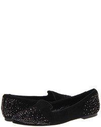 Black Embellished Suede Loafers