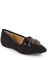Ellen Tracy Ainsley Embellished Suede Flats