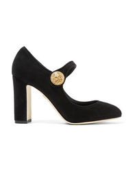 Dolce & Gabbana Embellished Suede Mary Jane Pumps