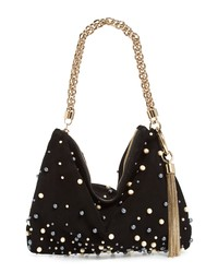 Jimmy Choo Callie Imitation Pearl Embellished Suede Clutch