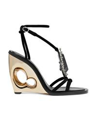 Alexander McQueen Embellished Suede Wedge Sandals