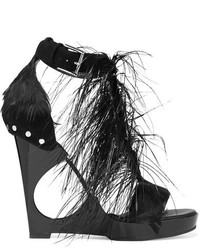 Alexander McQueen Feather Embellished Suede And Acrylic Wedge Sandals Black