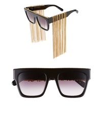 Stella McCartney 51mm Chain Fringe Square Sunglasses