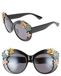 Leith 55mm Floral Embellished Cat Eye Sunglasses Black