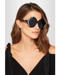 Alice + Olivia Alice Olivia Stacey Swarovski Crystal Embellished Round Frame Acetate Sunglasses Black