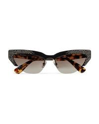 Miu Miu Cat Eye Crystal Embellished Acetate Mirrored Sunglasses