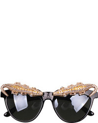 Cat Eye Rhinestone Crocodile Embellished Cateye Sunglasses