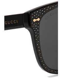 d6baa67dff Gucci Crystal Embellished Square Frame Acetate Sunglasses Black ...