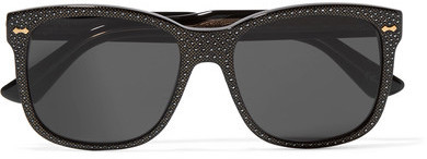 Gucci Crystal Embellished Square Frame Acetate Sunglasses Black